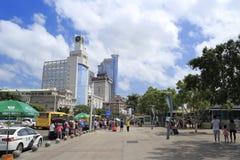 La oficina de aduanas y la plaza del transbordador de la ciudad amoy Foto de archivo