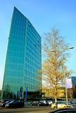 La oficina en la ciudad de Vilna en el otoño mide el tiempo el 11 de noviembre de 2014 Imágenes de archivo libres de regalías