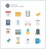 La oficina perfecta del pixel equipa iconos planos Imagen de archivo libre de regalías