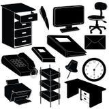 La oficina siluetea items Fotografía de archivo libre de regalías