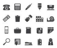 La oficina simple de la silueta equipa iconos Fotografía de archivo libre de regalías