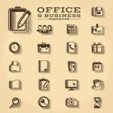 La oficina y el negocio grabaron los iconos fijados Imagen de archivo libre de regalías