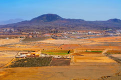 La Oliva town and La Arena volcano Fuerteventura, Canary Islands Royalty Free Stock Images