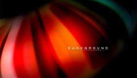 La onda abstracta alinea las rayas flúidas del color del estilo del arco iris en fondo negro Fotos de archivo libres de regalías