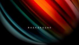 La onda abstracta alinea las rayas flúidas del color del estilo del arco iris en fondo negro Imagenes de archivo