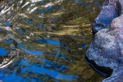 La onda de agua refleja cerca para arriba, visión baja Fotos de archivo