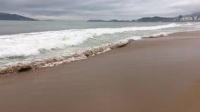 La onda es incidente en la playa arenosa almacen de video