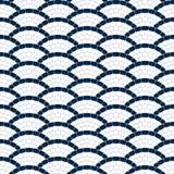 La onda geométrica del azul marino y blanca empiedra el modelo inconsútil del mosaico, fondo del vector Imagen de archivo