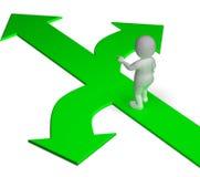 La opción de las flechas muestra alternativas o decidir de las opciones ilustración del vector