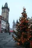 La opinión de Año Nuevo del cuadrado de Staromestske Foto de archivo libre de regalías