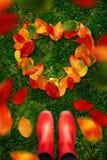 La opinión de alto ángulo la mujer en botas de goma rojas mira abajo en las hojas de otoño de las formas del corazón en hierba ve Fotografía de archivo libre de regalías