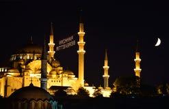 La opinión de la noche de la mezquita de Suleymaniye, Estambul Turquía Imagen de archivo libre de regalías