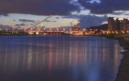 La opinión de la noche del puente de Dazhi Imagen de archivo