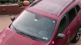 La opinión de lapso de tiempo de mañana del coche descongela almacen de video
