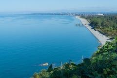 La opinión del mar de los jardines botánicos en Batumi, Georgia Imagen de archivo libre de regalías