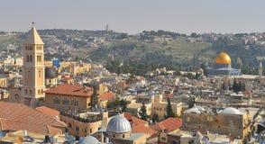 La opinión del paisaje de Jerusalén sobre el monte de los Olivos, la bóveda Imágenes de archivo libres de regalías