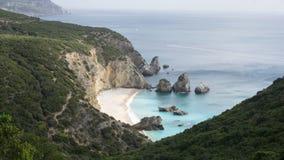La opinión del paisaje del Praia hace Cavalo Marinho, Sesimbra Imagen de archivo
