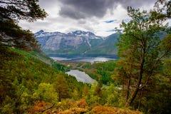 La opinión del verano de Trolltunga en Odda, lago Ringedalsvatnet, Noruega Fotografía de archivo
