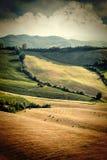 La opinión del vintage después de la cosecha coloca, Toscany, Italia Imagenes de archivo
