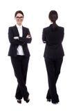 La opinión delantera y trasera la mujer de negocios hermosa joven aisló o Imagen de archivo