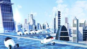La opinión futurista de la calle de la ciudad de la ciencia ficción, 3d digital rindió la ilustración Fotos de archivo libres de regalías