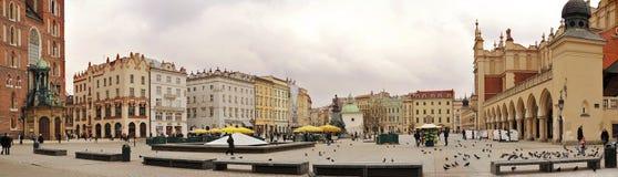 La opinión panorámica de la ciudad de Kraków Imagen de archivo