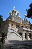 La opinión panorámica sobre la iglesia rusa de Mary Magdalene localizó en el monte de los Olivos fotografía de archivo libre de regalías