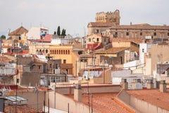 La opinión sobre los tejados de edificios en la ciudad de Tarragona en S Fotografía de archivo