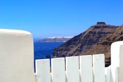 La opinión sobre Oia y Skaros oscilan, Santorini Imagen de archivo libre de regalías