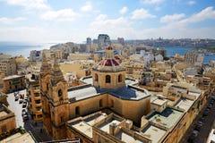 La opinión sobre Sliema y Valleta Imagen de archivo libre de regalías