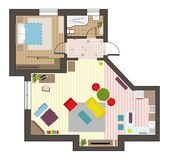 La opinión superior del plan plano arquitectónico con muebles de la cocina y del salón del cuarto de baño de las salas de estar v fotografía de archivo libre de regalías