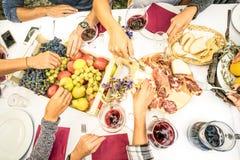 La opinión superior el amigo da la consumición de la comida y del vino en el jardín de la barbacoa Foto de archivo