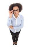 La opinión superior la mujer de negocios afroamericana hermosa aisló o Fotos de archivo libres de regalías