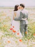 La opinión trasera los recienes casados que se besan mientras que camina en el campo de la amapola imagen de archivo libre de regalías
