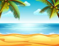 La opinión tropical de la playa con el árbol de la playa arenosa y de coco dos en ambos lados libre illustration