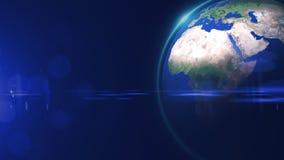 La opini?n de la estrella del mundo o el globo 3D del espacio en el campo de estrella muestra la composici?n de esta imagen adorn stock de ilustración