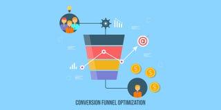La optimización del embudo de la conversión, generación de la ventaja, ventas concentra concepto Bandera plana del vector del dis libre illustration