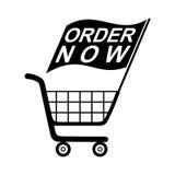 La orden ahora señala el carro de la compra por medio de una bandera Imagen de archivo libre de regalías