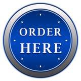 La orden aquí abotona Imágenes de archivo libres de regalías