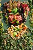 La organización de verduras y de frutas en un soporte grande Imagen de archivo libre de regalías
