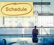 La organización del planificador del calendario del horario recuerda concepto fotos de archivo