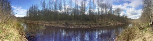 La orilla del río en la primavera temprana con la nieve derretida y una hierba marchitada vieja Foto de archivo libre de regalías