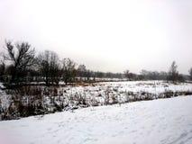 La orilla del río en una mañana fría en el invierno Imagen de archivo