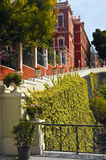 La Orotava townhall. Well designed red building with green gardens Royalty Free Stock Photos