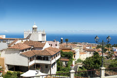 La Orotava. View of La Orotava town  against blue ocean water, Tenerife, Canary Islands Stock Photography