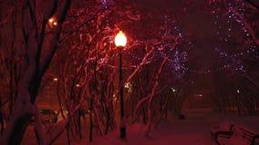 La oscuridad del invierno abandonó el cuadrado, nieve que caía de las luces de la lámpara de calle almacen de metraje de vídeo
