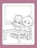 La página con ejercicio - el tema del colorante de la escuela - ejemplo para los niños libre illustration