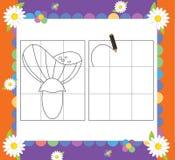 La página con los ejercicios para los niños - ejemplo para los niños Foto de archivo