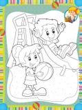 La página con los ejercicios para los niños - libro de colorear - ejemplo para los niños