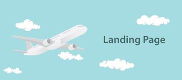 La página de aterrizaje diseña el ejemplo con el aero- avión y texto Foto de archivo libre de regalías